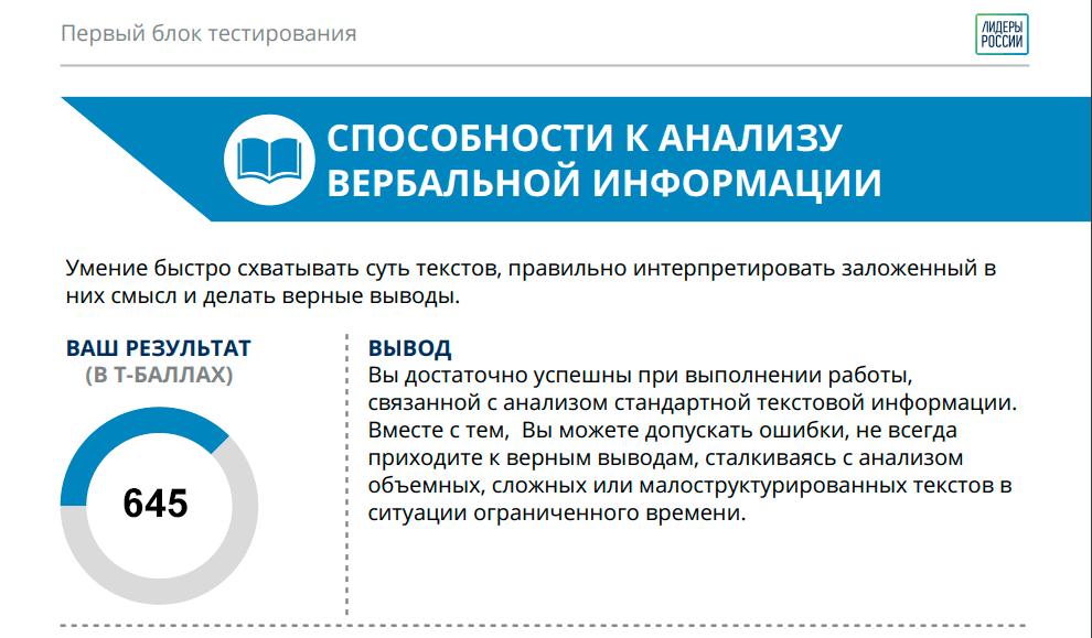 пример вербального теста лидеры россии
