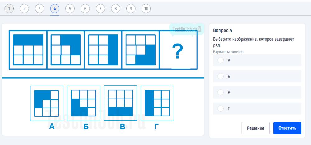 тест продолжить серию из геометрических фигур