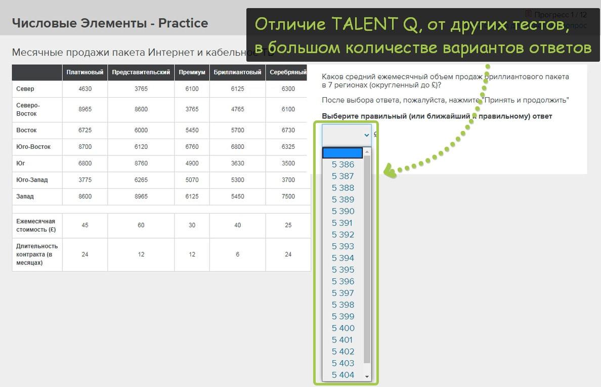 количество ответов в talent q вопросах