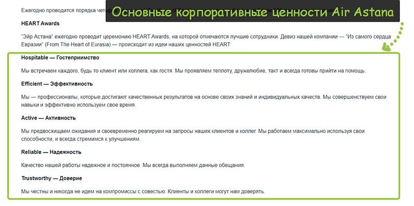 Корпоративные ценности air astana